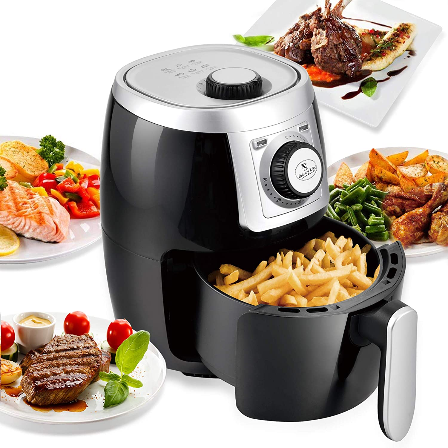 Culinary Edge 2.1QT Compact Electric Small Air Fryer + Oven Cooker, Nonstick Fry Basket, Dishwasher Safe, Auto Shut Off Feature - Black