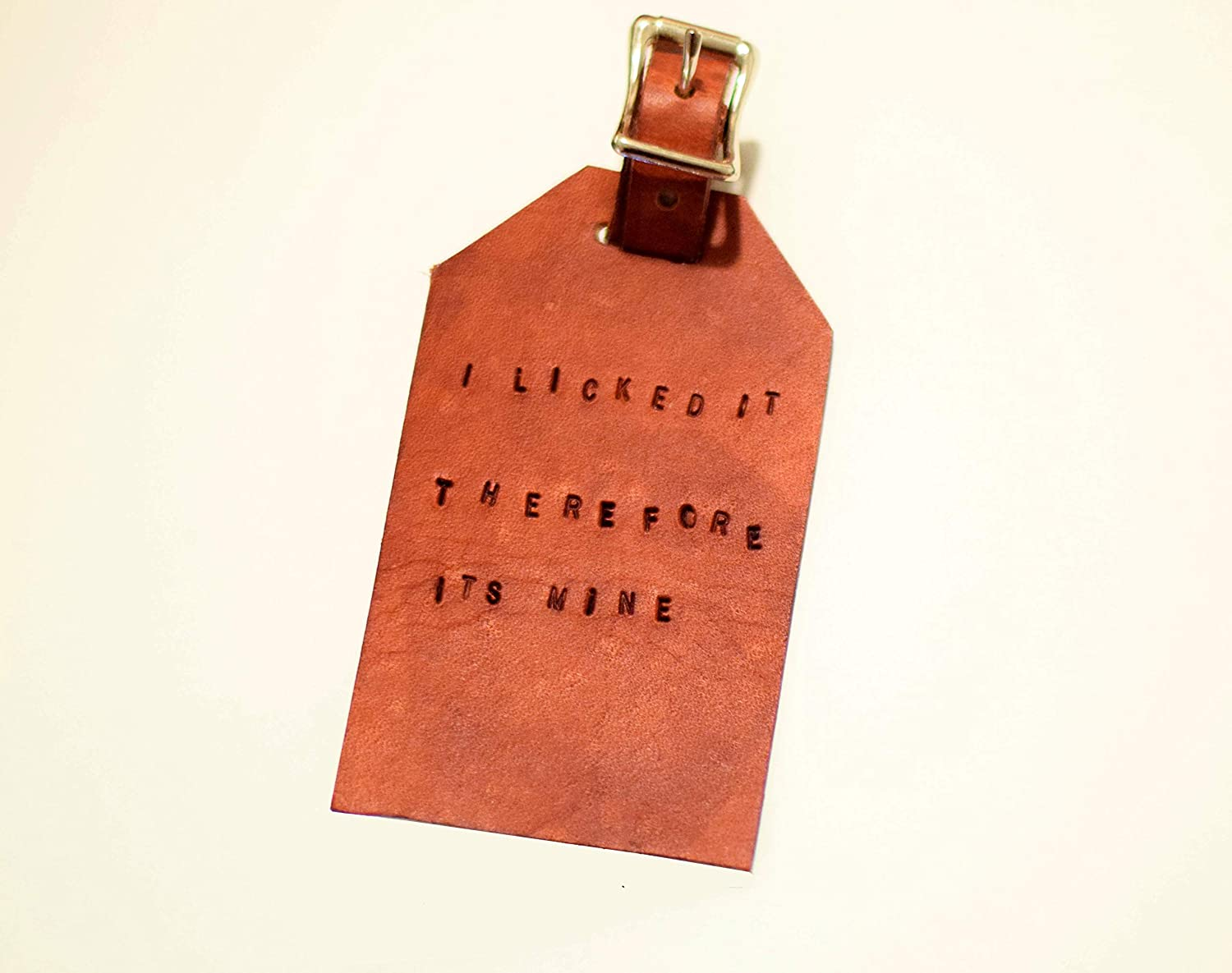Funny Genuine Leather Luggage Tag by Tiny Backpacks - I Licked It Therefore Its Mine