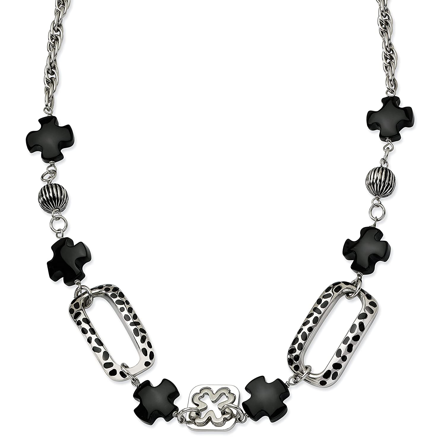 Necklace Stainless Steel Black Agate /& Resin 24 with 1 ext