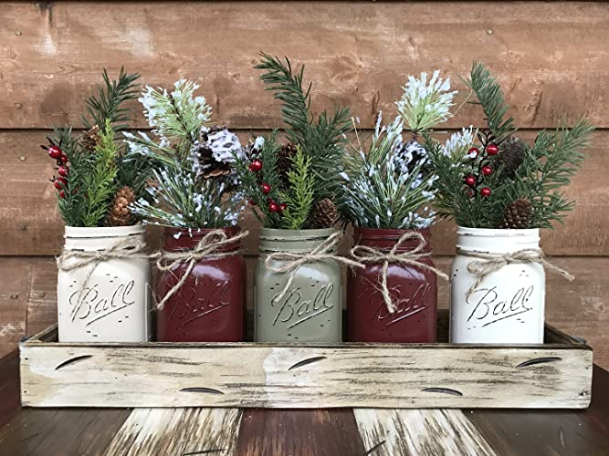 Amazon.com: HOLIDAY Centerpiece Mason JARS in Wood Antique White or Red Tray with 5 Ball Pint Jar -Kitchen Table -Christmas Decor -Distressed Rustic -Florals (OPTIONAL) - Pine Berries Green Evergreens Flowers: Handmade