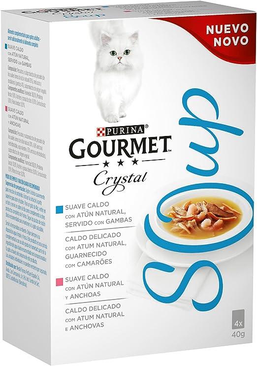 Purina Gourmet Crystal Soup comida para gatos con Atun Natural y Gambas 10 x [4 x 40 g]: Amazon.es: Productos para mascotas