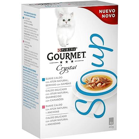 Purina Gourmet Crystal Soup comida para gatos con Atun Natural y Gambas 10 x [4