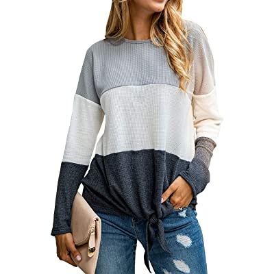 Yidarton Women's Waffle Knit Tunic Tops Loose Long Sleeve Triple Color Block Pullover Sweater Tie Knot Casual Shirts at Women's Clothing store