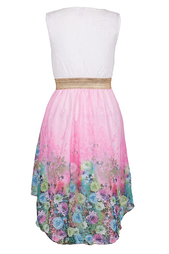 Amazon.com: Noroze Girls Kids Summer Party Sleeveless Lace Top Floral High Low Dress 3-13 Years: Clothing