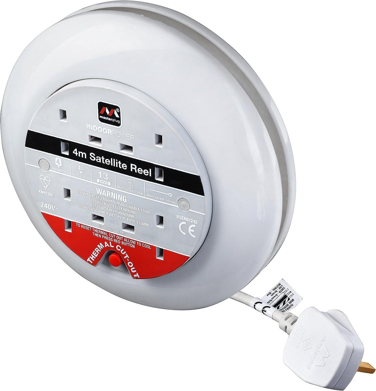 4 Metres Masterplug Four Socket Slimline Cassette Reel Extension Lead White