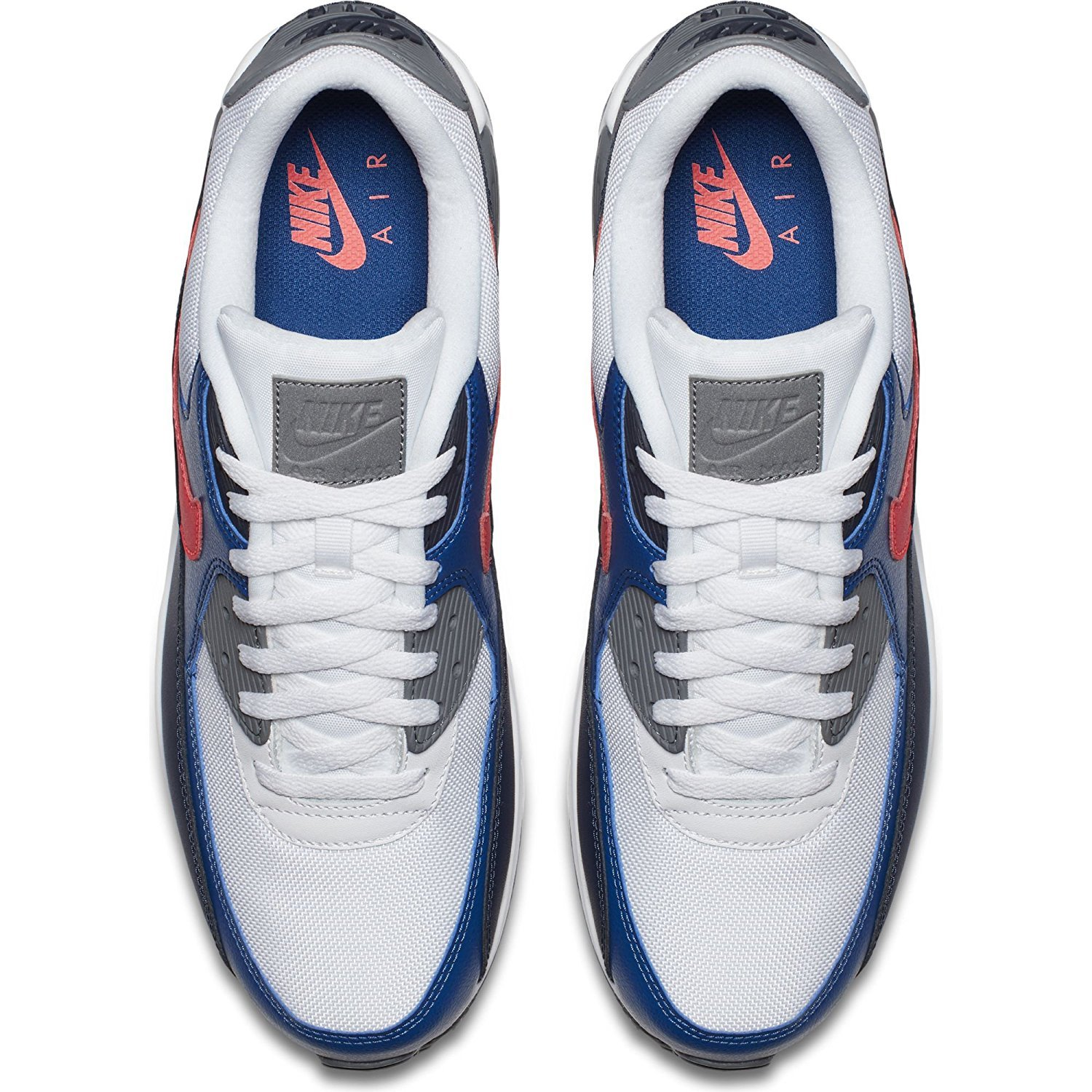 the latest c385f 15232 NIKE Men s Air Max 90 Essential, White Solar RED-Obsidian-Gym Blue, 14 UK   Amazon.co.uk  Shoes   Bags