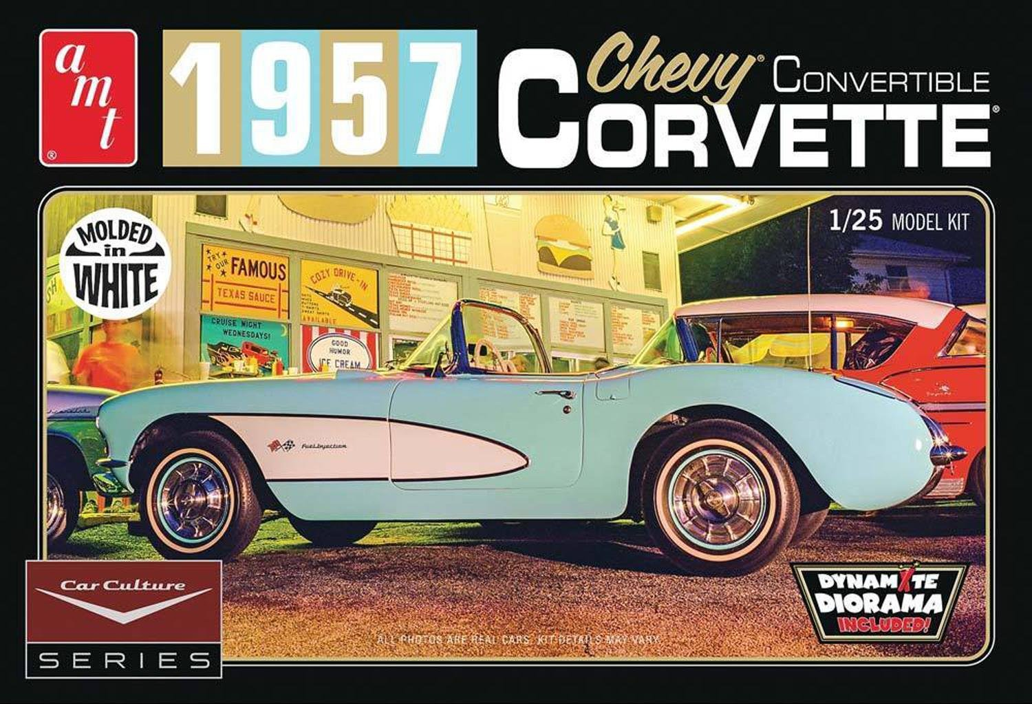 Amt 1015 1957 Chevy Corvette Convertible 125 Scale Impala Ss Plastic Model Kit Requires Assembly Toys Games