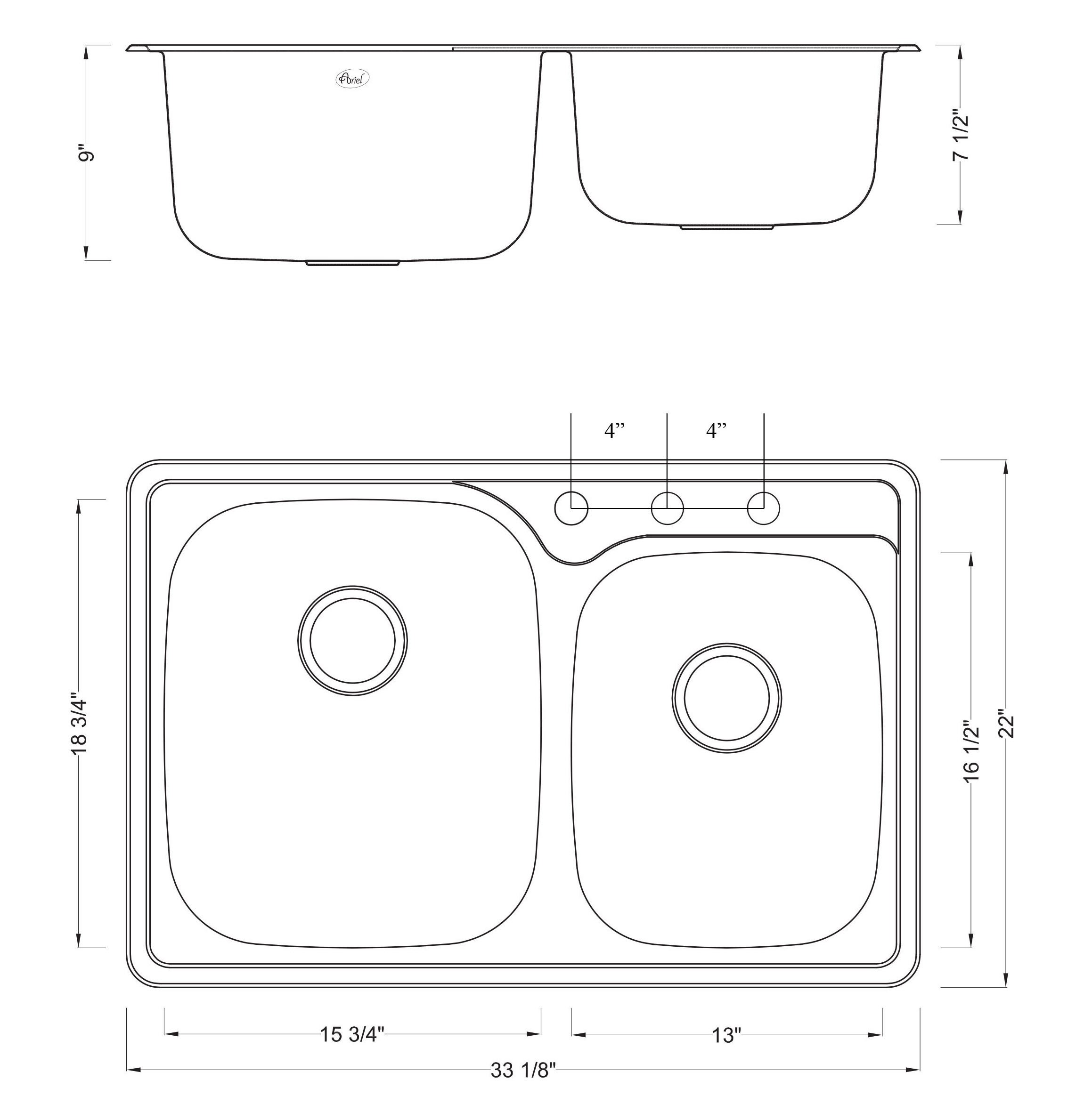 33 Inch Top-mount / Drop-in Stainless Steel Double Bowl Kitchen Sink - 18 Gauge with Deluxe Liift Out Strainer by CBath