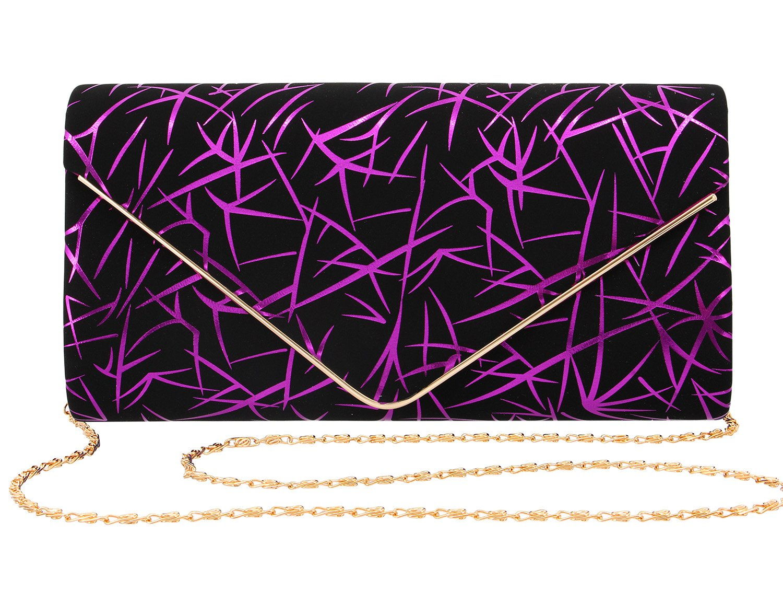 Gabrine Womens Evening Envelop Shoulder Bag Handbag Clutch Purse Velvet Shiny Lines for Wedding Prom Party(Purple)