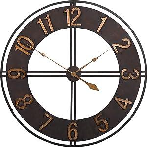 Studio Designs Home Industrial Loft 30 Inches Metal Wall Clock, Dark Bronze/Bronze