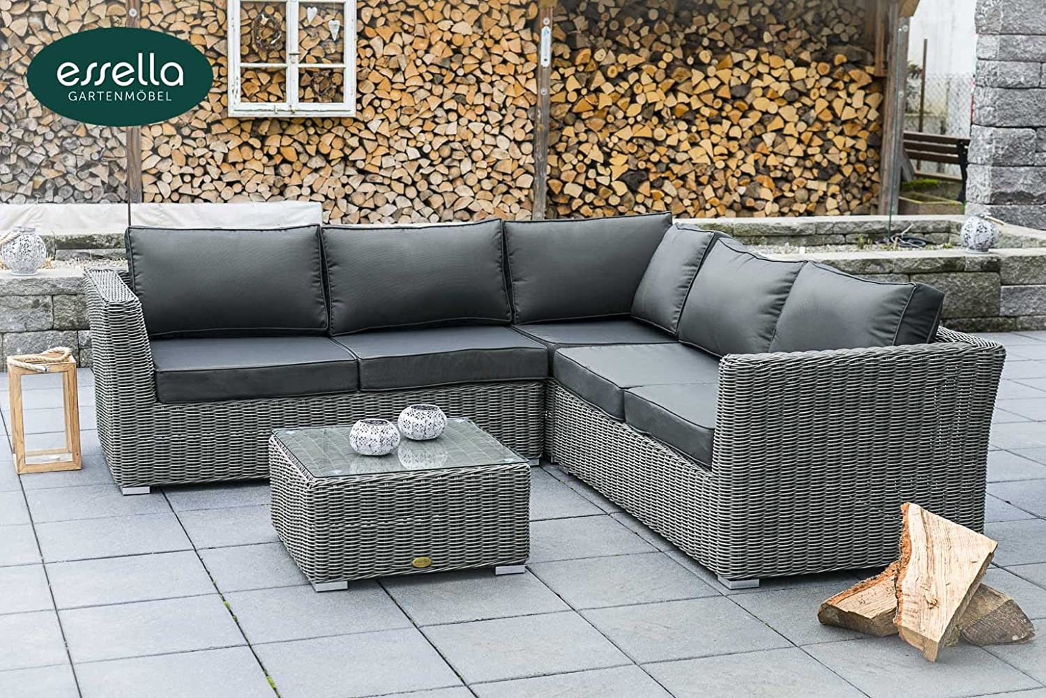 polyrattan lounge boston 5 personen rundgeflecht grau rund gartenm bel terassenm bel. Black Bedroom Furniture Sets. Home Design Ideas