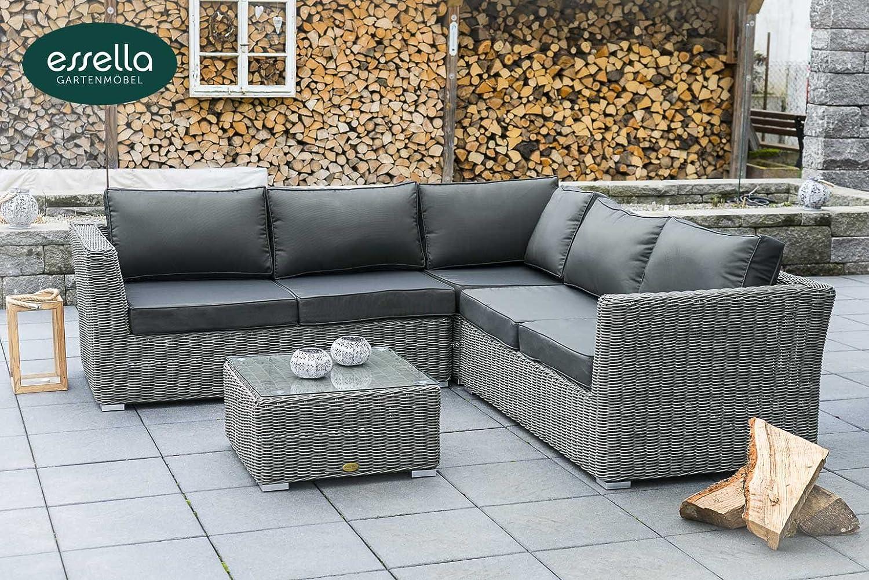 Polyrattan lounge boston 5 personen rundgeflecht grau for Lounge gartenmobel rund