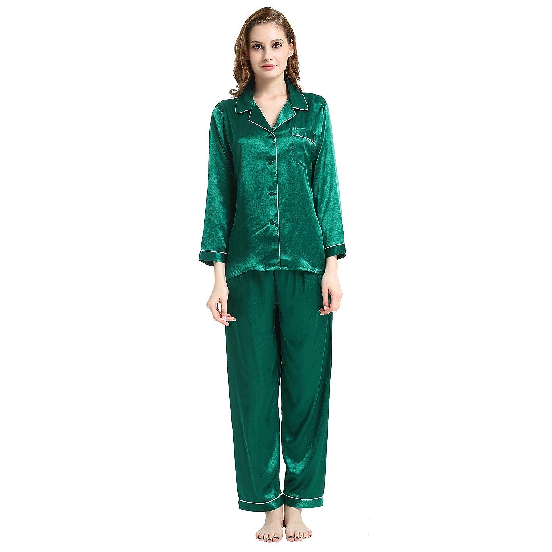 Green Womens Silk Satin Pajamas Set Sleepwear Loungewear XS3XL Plus_Gifts_712days to USA