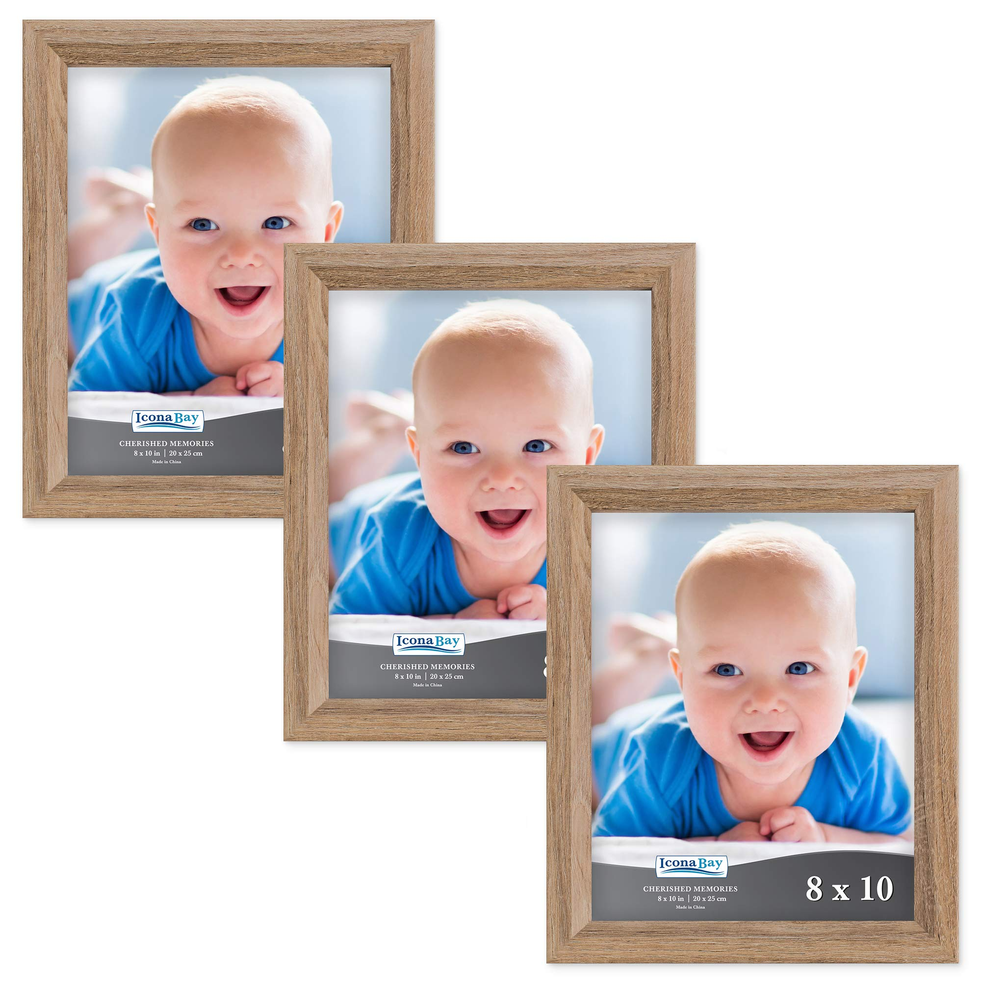 Icona Bay 8x10 Picture Frame (3 Pack, Dark Oak Wood Finish), Photo Frame 8 x 10, Composite Wood Frame for Walls or Tables, Set of 3 Cherished Memories Collection by Icona Bay