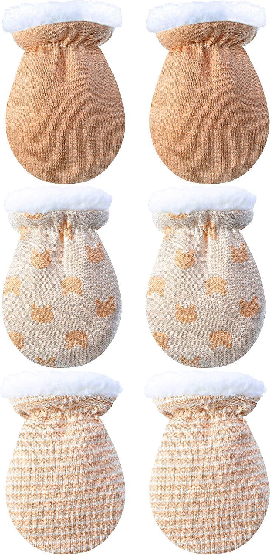 3 Pares de Manoplas de Bebé Guantes Calientes Mitones de Invierno de Bebés Niños Niñas Manoplas del Interior de Lana de Recién Nacido Infantil para 0-12 Meses