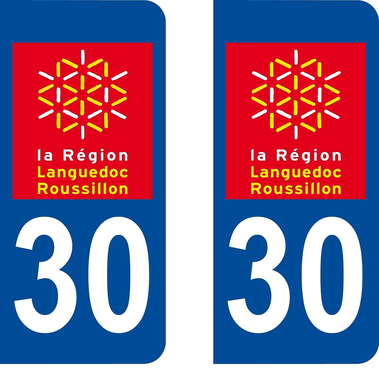 SAFIRMES 2 Stickers Autocollant Style Plaque Immatriculation dé partement 30