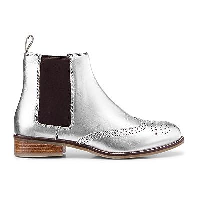 4d124e58e007f Cox Damen Damen Chelsea-Boots aus Leder, Stiefeletten in Silber mit ...