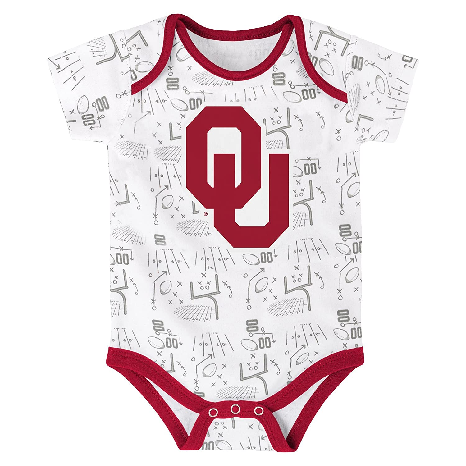 24 Months Multi NCAA by Outerstuff NCAA Oklahoma Sooners Newborn /& Infant Playmaker 3pc Bodysuit Set