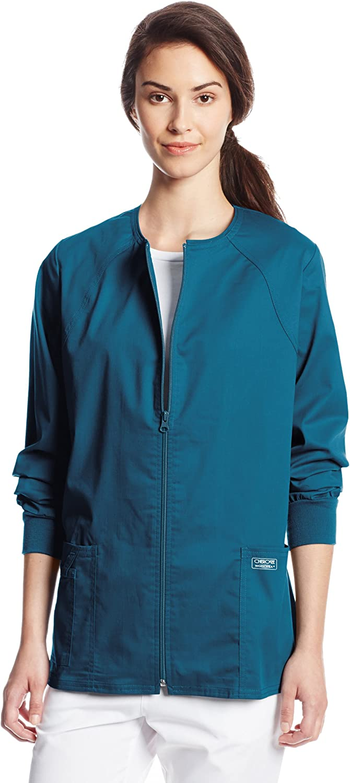 CHEROKEE Women's Workwear Core Stretch Warm Up Scrubs Jacket, Caribbean Blue, XX-Large