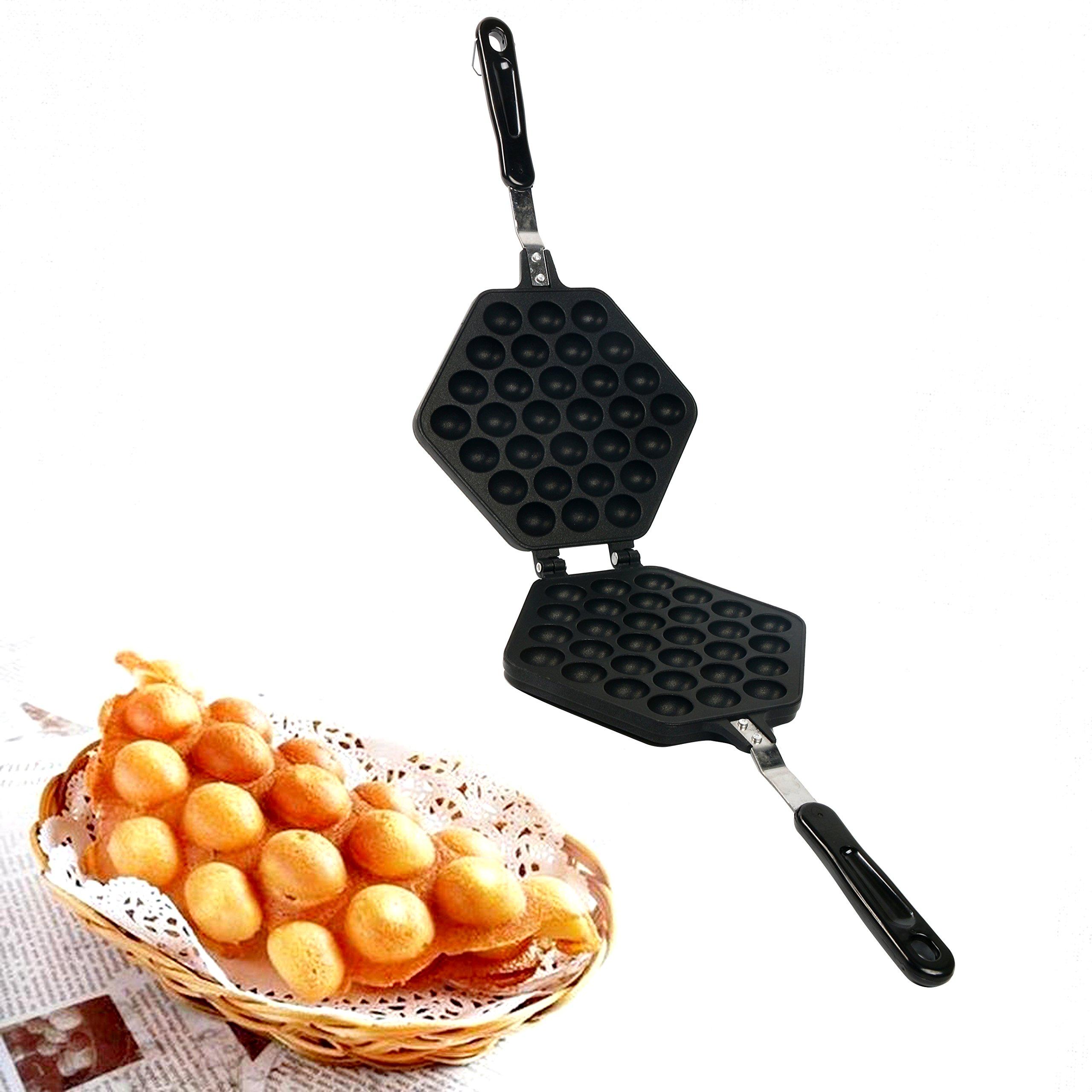 Yaegoo Egg Waffle Pan,Non-Stick Grill Egg Cake Pan Egg Puff Waffle Maker Double Sided Iron Pressure Pan,Black
