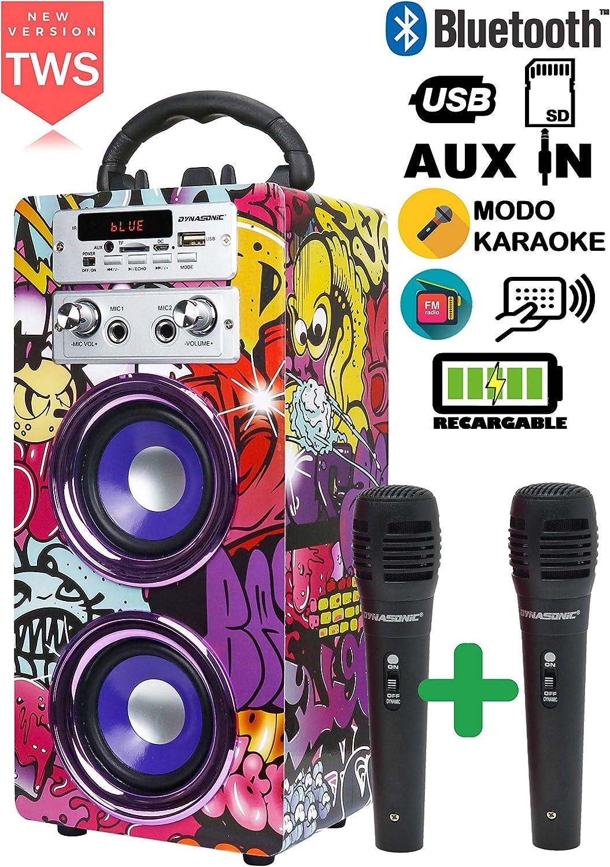 DYNASONIC - Altavoz Portátil Bluetooth | Lector USB y SD, Radio FM Incorporada y 2 Micrófonos, Batería Recargable (Modelo 12)