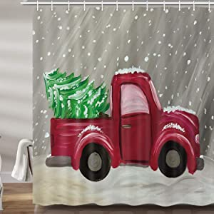 Christmas Red Truck Decor Shower Curtain, Vintage Car with Xmas Fir Tree in Snowy Winter Upgrade Polyester Fabric Bath Curtains Bathroom Accessories, with 12PCS Hooks 69X70 Inches
