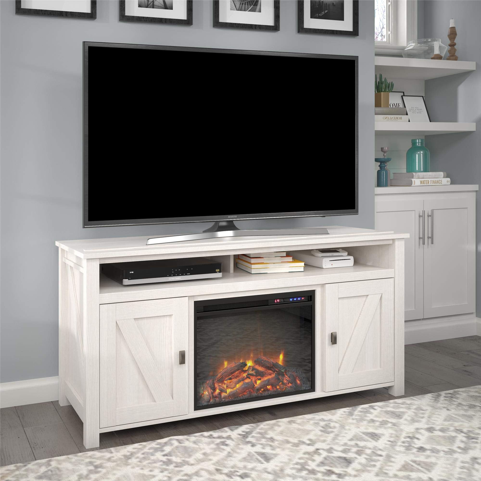 Ameriwood Home Farmington Electric Fireplace Console 60'', Ivory Pine TV Stand by Ameriwood Home