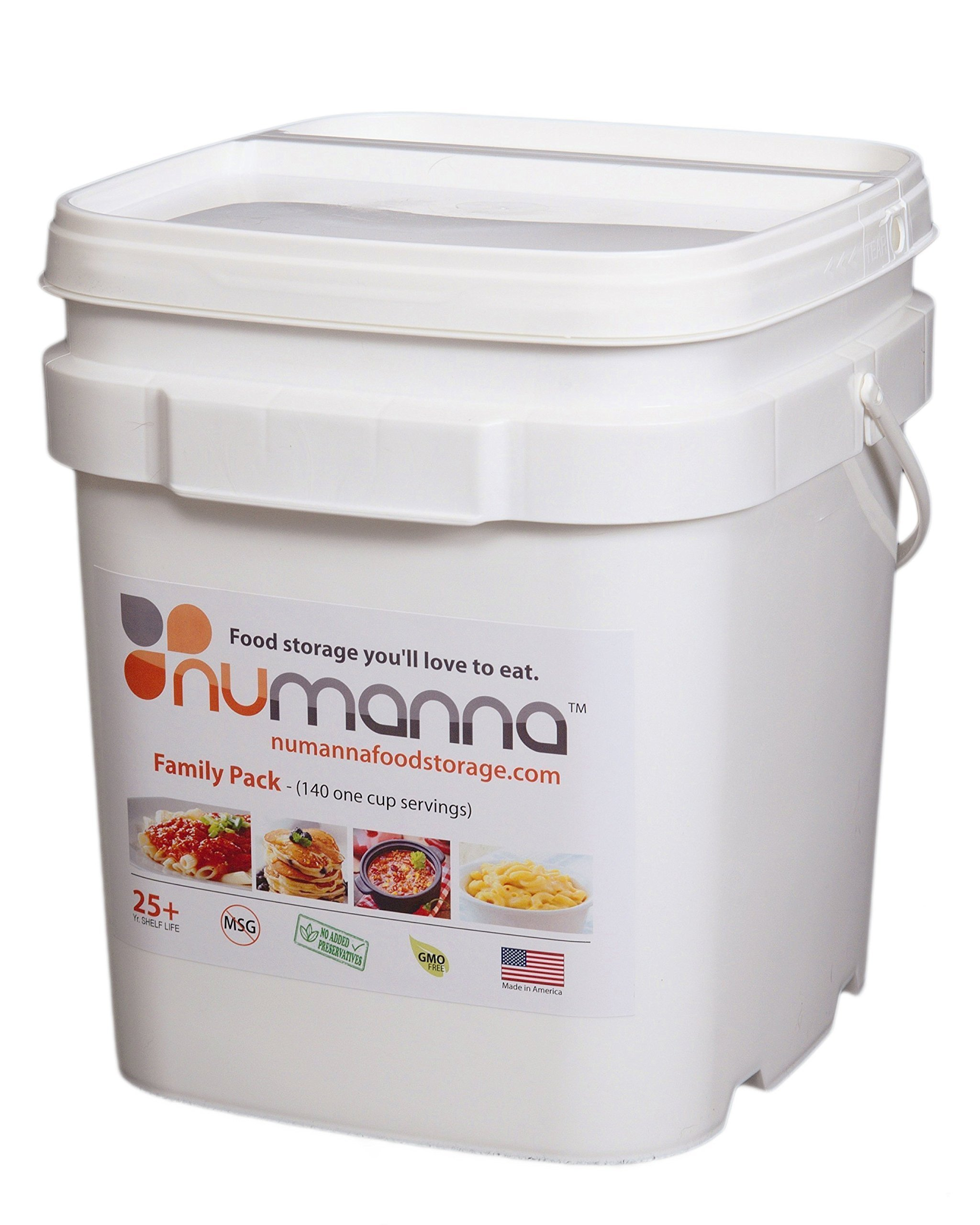 NuManna INT-NMFP 144 Meals, Emergency Survival Food Storage Kit, Separate Rations, in a Bucket, 25 Plus Year Shelf Life, GMO-Free by NuManna