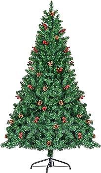 SEZAC Christmas Tree with Red Berries & Pinecones