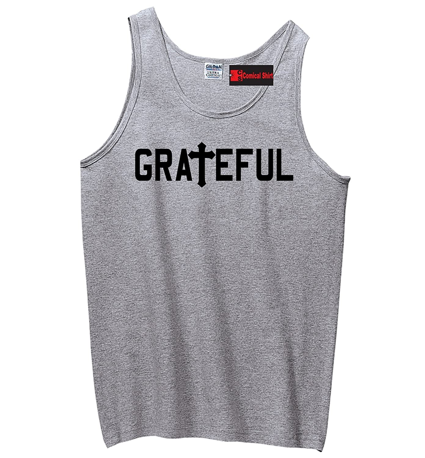 Comical Shirt Men's Grateful Christian Religious Tee Cross Jesus Tank Top