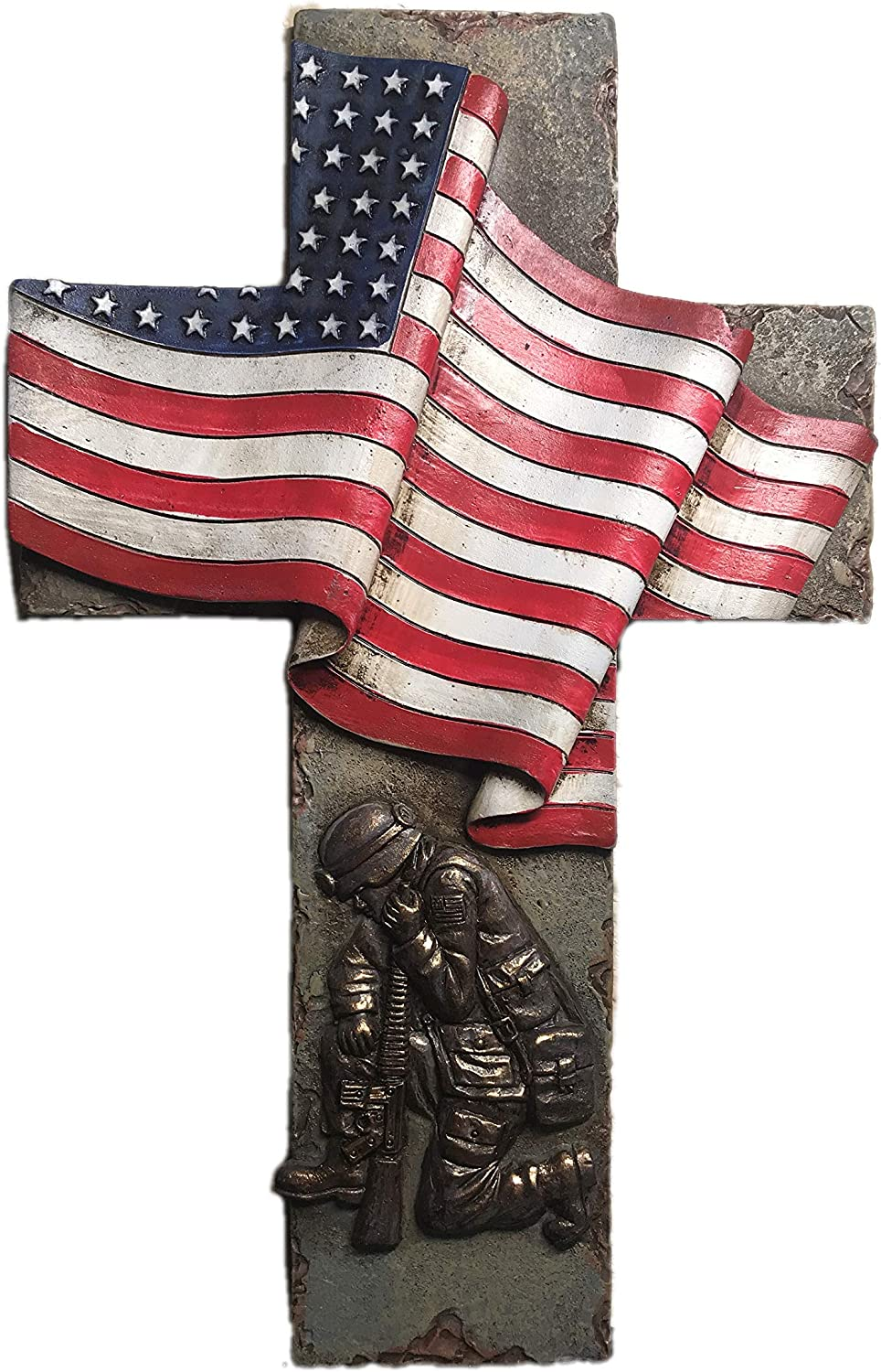 Polly House 10 Inch US Flag Cross with Praying Soldier Honoring Military Soldier 7435