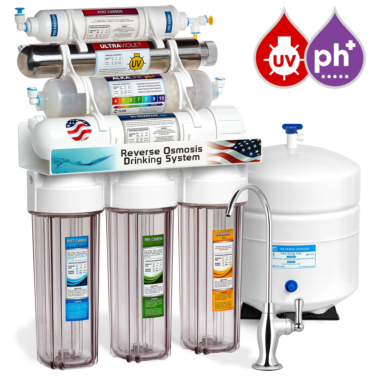 Express Water 11 Stage UV Ultraviolet + Alkaline + Reverse Osmosis Home Drinking Water Filtration System 100 GPD RO Membrane Filter - Deluxe Faucet - Clear Housing