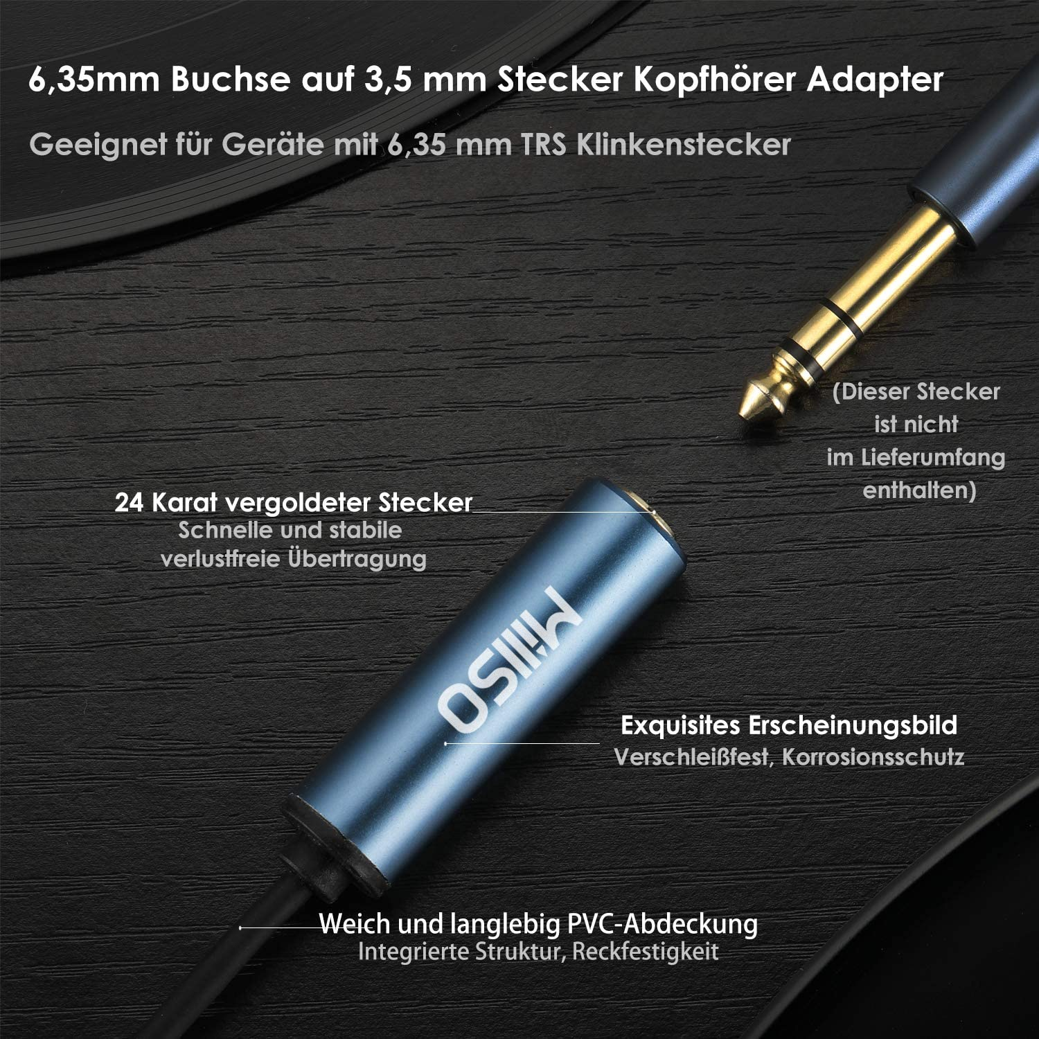 Amplifiers 30CM//12 inch MillSO Headphone Jack Adapter 3.5mm 1//8 inch to 6.35mm 1//4 inch Jack TRS Stereo Audio Aux Adapter compatible for Home Audio Piano Home Theater Devices or Mixing Console