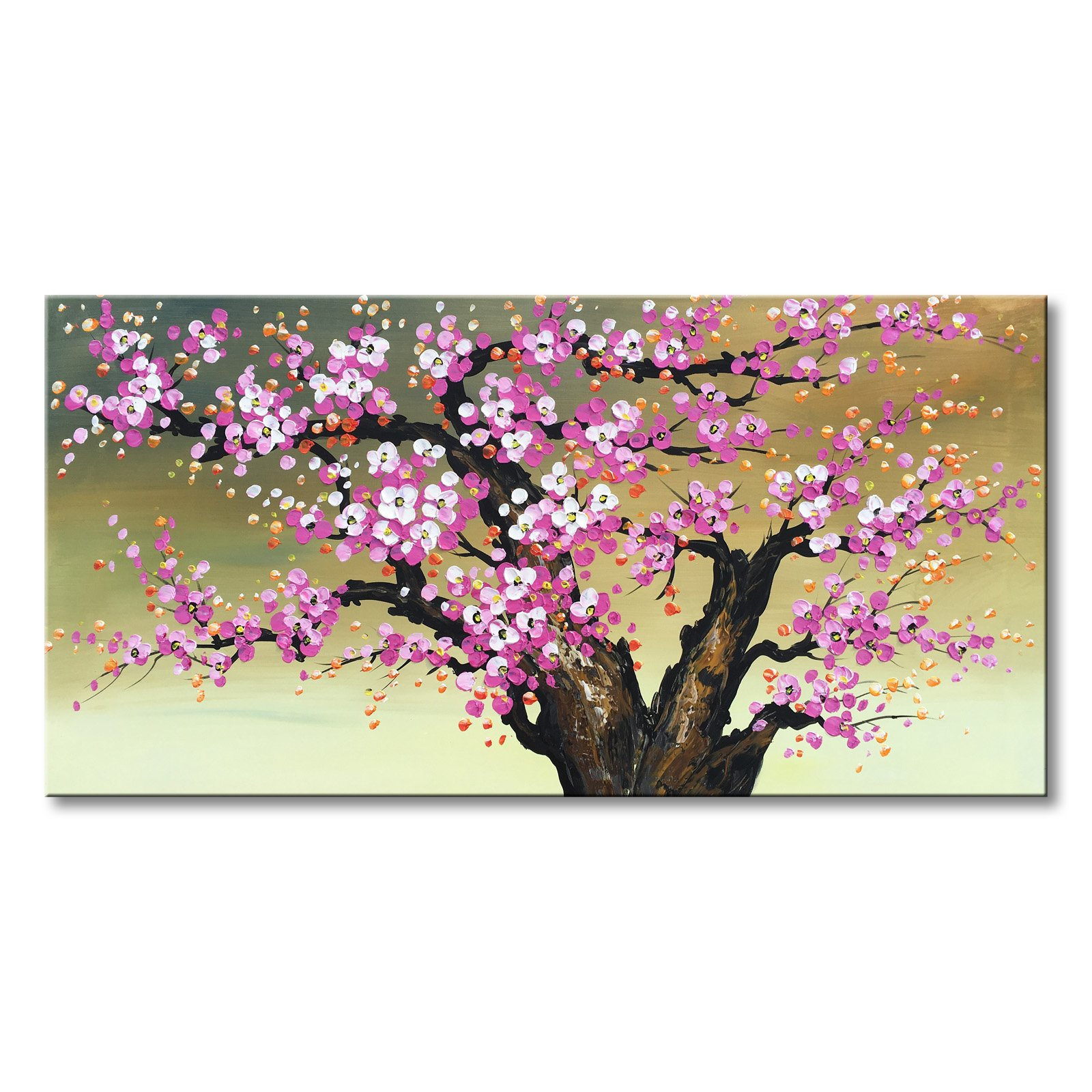 Plum Blossom Pink Flower Oil Paintings 100% Hand Painted Textured Canvas Pictures Decor Wall Art For Girls Bedroom (without frames 48''W x 24''H)