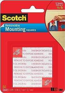 Scotch Brand Scotch Mounting x 1/2-inch, Black, 64-Squares (108-SML), 1-Pack, Clear