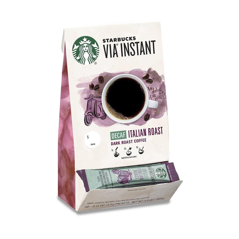 Starbucks VIA Instant Decaf Italian Roast Dark Roast Coffee (1 box of 50 packets)