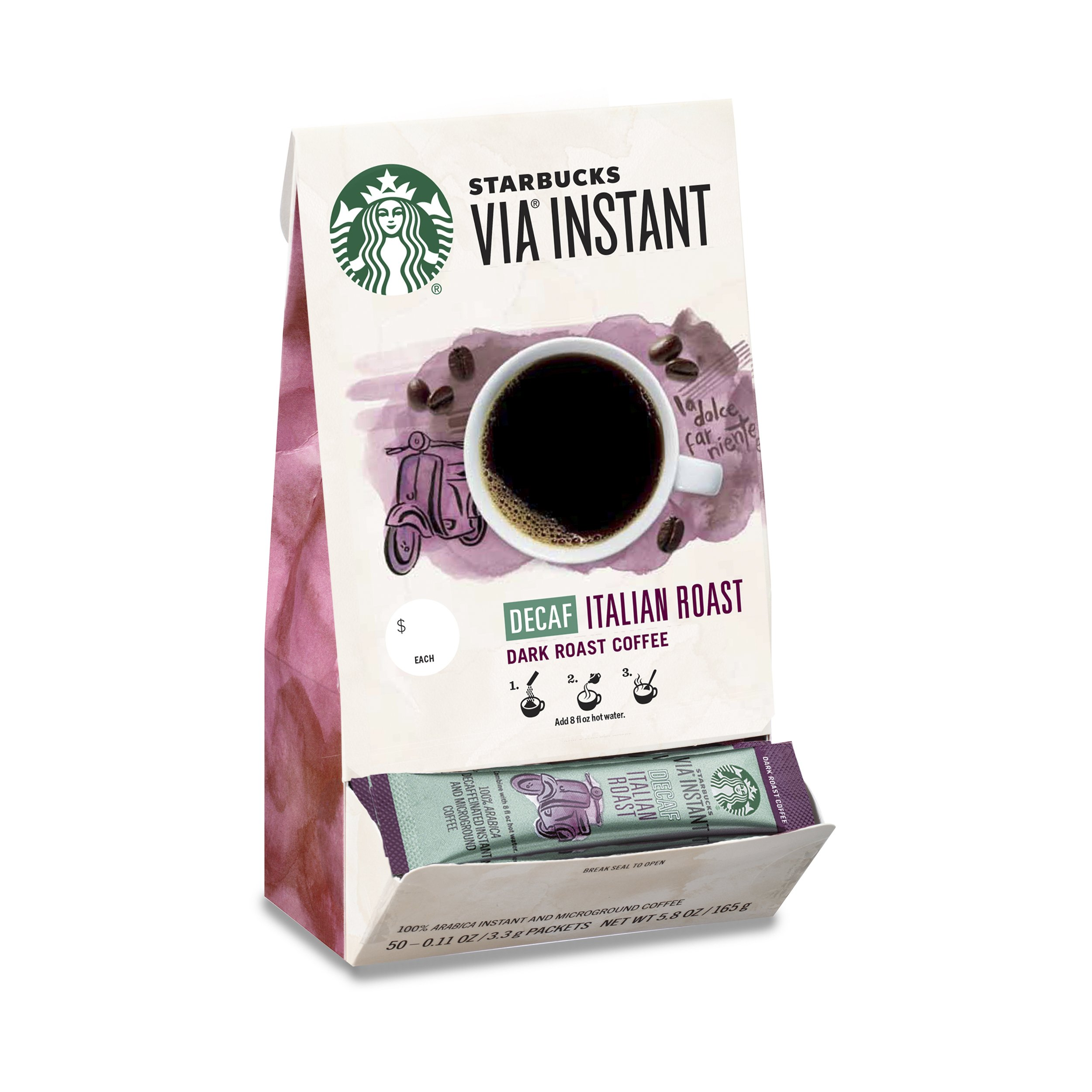 Starbucks VIA Instant Decaf Italian Roast Dark Roast Coffee (1 box of 50 packets) by Starbucks