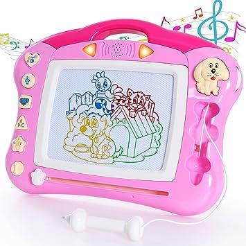 ANTAPRCIS Pizarras Mágicas Pluma, Luz y Música Linda Sello Tablero de Dibujo Magnético Infantil Magnético Juguetes Educativos para Niños, Rosado