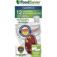 FoodSaver Liquid Block Heat-Seal Quart Bags, 12 Count