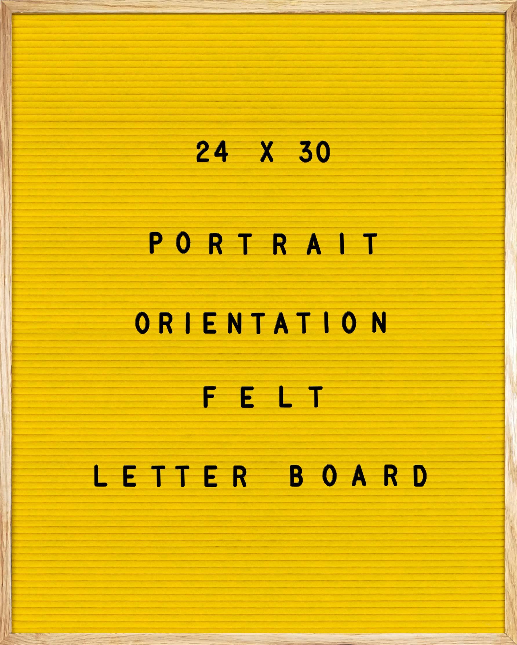Yellow Felt Letter Board 24 X 30 Portrait Orientation with 692-Piece Set of 1'' and 3/4'' Letters, Symbols & Emojis, 36 Slot Set Organizer, Cutters, 2 Letter Pouches