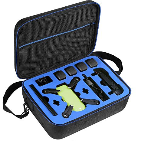 DACCKIT Travel Carrying Case Compatible with DJI Spark Fly More Combo - Fit  DJI Spark Drone, 4x Intelligent Flight Batteries, Remote Controller,