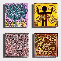 Quadri Moderni HARING 4 pezzi pannelli Pop Art Stampa Tela CANVAS Arredamento Arte Astratto XXL Arredo soggiorno salotto camera da letto cucina ufficio printerland.it (4 pezzi 40x40 cm cad.)