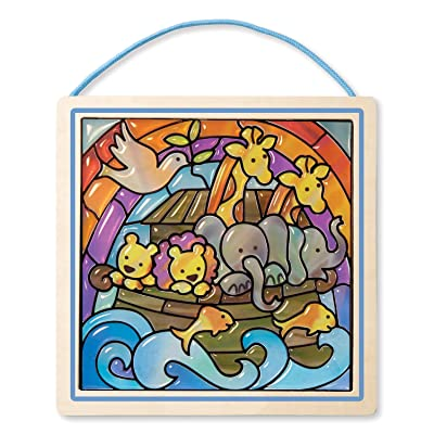 Melissa & Doug Peel and Press Stained Glass Sticker Set: Noah's Ark - 90+ Stickers, Wooden Frame: Melissa & Doug, , Noahs Ark: Toys & Games