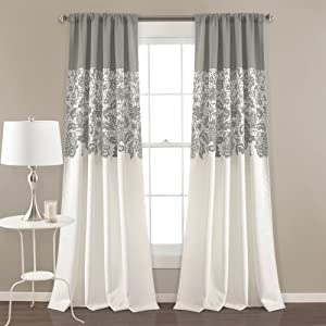 "Lush Decor Estate Garden Print Curtains Room Darkening Window Panel Set for Living, Dining, Bedroom (Pair), 84"" x 52"", Gray"
