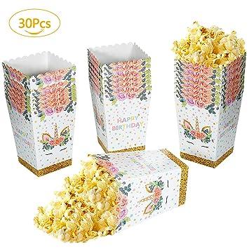 Remebe Cajas de Palomitas, 30 Piezas de Palomitas de maíz Caja de bocadillos Arco Iris patrón Unicornio Caja de meriendas Palomitas de maíz Unicornio ...