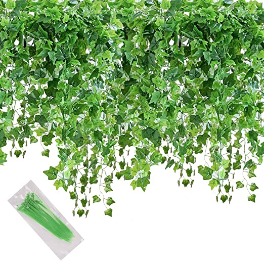 MerryNine Artificial Ivy Leaf, 84 Ft 12 Pack Hanging Vines Garland on ivy texture, ivy and flowers, poison ivy plant flower, ivy vine in the garden, ivy with flower beds,