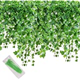 MerryNine Artificial Ivy Leaf, 84 Ft 12 Pack Hanging Vines Garland Ivy Leaves Plants Foliage Flowers Greenery Decor for…