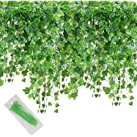 MerryNine Artificial Ivy Leaf, 84 Ft 12 Pack Hanging Vines Garland Fake Ivy Leaves Plants Fake Foliage Flowers Fake…