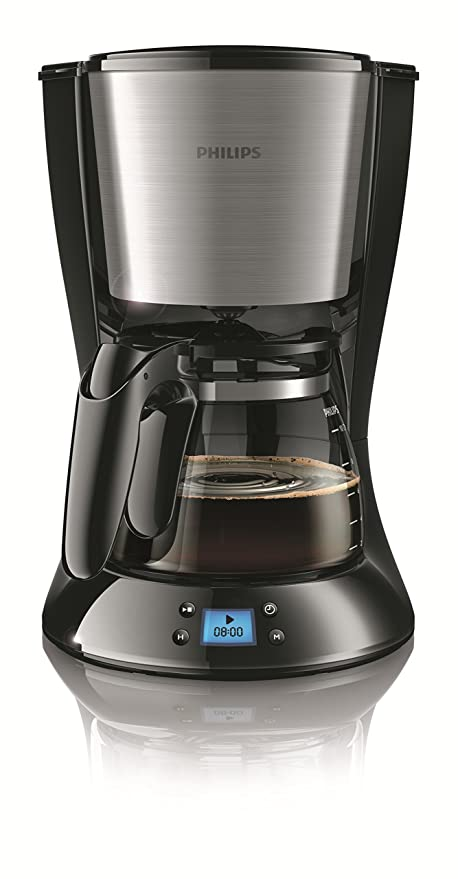 Philips Daily Collection HD7459/23 - Cafetera (Independiente, Cafetera de filtro, 1,2 L, De café molido, 1000 W, Negro, Acero inoxidable)