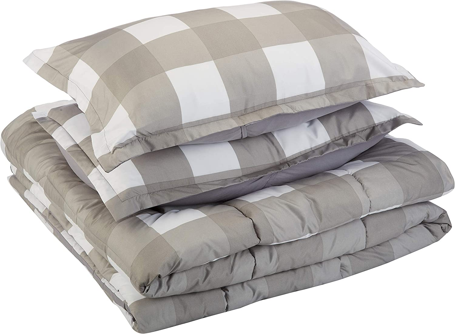 AmazonBasics Comforter Set, Full / Queen, Dark Grey Oversized Gingham, Microfiber, Ultra-Soft
